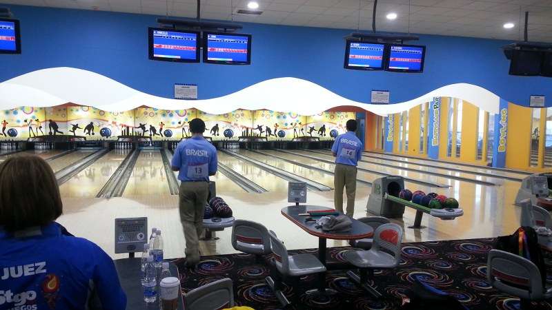 Brazil's bowlers in action at Happyland. Photo: Daniel Boyle