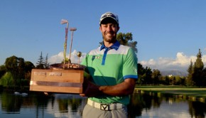 Adam Hadwin shows off the Chile Classic trophy. Photo: www.chileclassic.cl