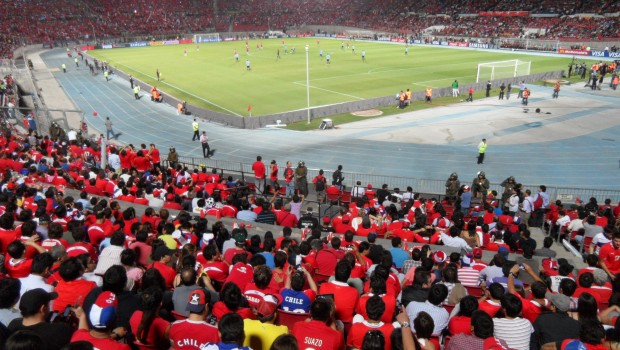 Chile against Uruguay at Estadio Nacional. Photo: Daniel Boyle