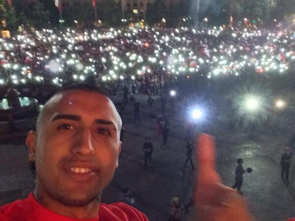 Arturo Vidal celebrating World Cup qualification