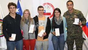 Chile's winter athletes receive Olympic pins. Photo: ADO Chile
