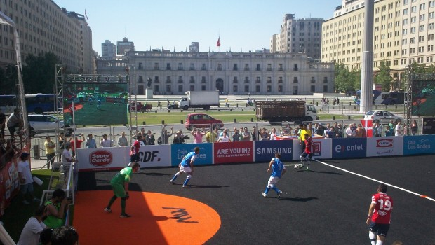 Action from Chile v Greece.